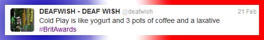 Coldplay Equals Shat - BritAwards - DEAFWISH